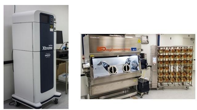 Images: equipment, Left - Bruker Xtreme, Right - Isocage Biosafety Station